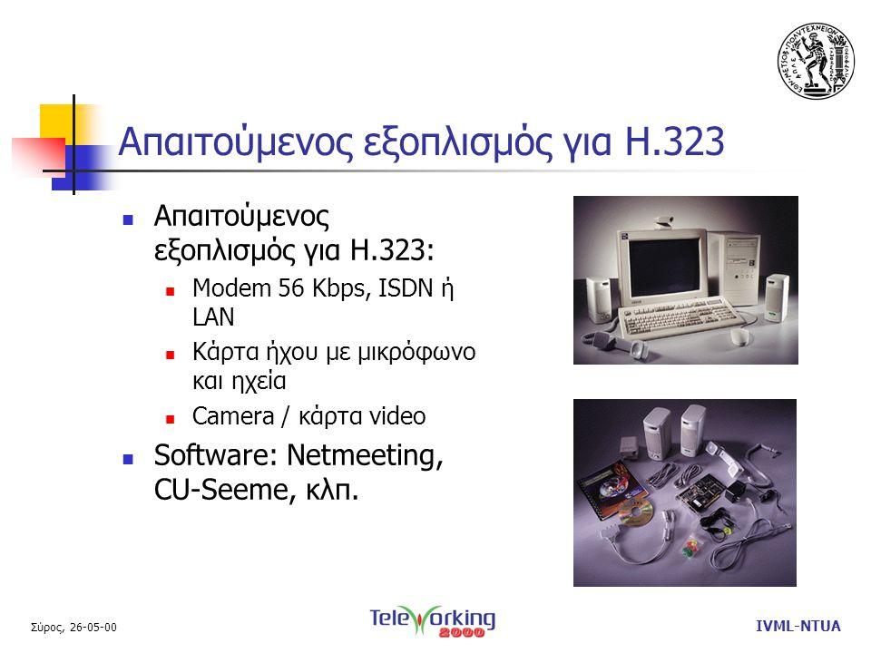 Σύρος, 26-05-00 IVML-NTUA Απαιτούμενος εξοπλισμός για Η.323  Απαιτούμενος εξοπλισμός για Η.323:  Modem 56 Kbps, ISDN ή LAN  Κάρτα ήχου με μικρόφωνο και ηχεία  Camera / κάρτα video  Software: Netmeeting, CU-Seeme, κλπ.