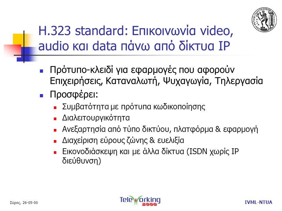 Σύρος, 26-05-00 IVML-NTUA Η.323 standard: Επικοινωνία video, audio και data πάνω από δίκτυα IP  Πρότυπο-κλειδί για εφαρμογές που αφορούν Επιχειρήσεις, Καταναλωτή, Ψυχαγωγία, Τηλεργασία  Προσφέρει:  Συμβατότητα με πρότυπα κωδικοποίησης  Διαλειτουργικότητα  Ανεξαρτησία από τύπο δικτύου, πλατφόρμα & εφαρμογή  Διαχείριση εύρους ζώνης & ευελιξία  Εικονοδιάσκεψη και με άλλα δίκτυα (ISDN χωρίς IP διεύθυνση)