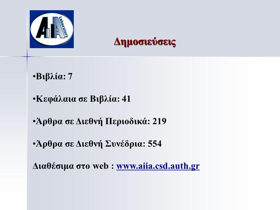 Δημοσιεύσεις • •Βιβλία: 7 • •Κεφάλαια σε Βιβλία: 41 • •Άρθρα σε Διεθνή Περιοδικά: 219 • •Άρθρα σε Διεθνή Συνέδρια: 554 Διαθέσιμα στο web : www.aiia.csd.auth.gr