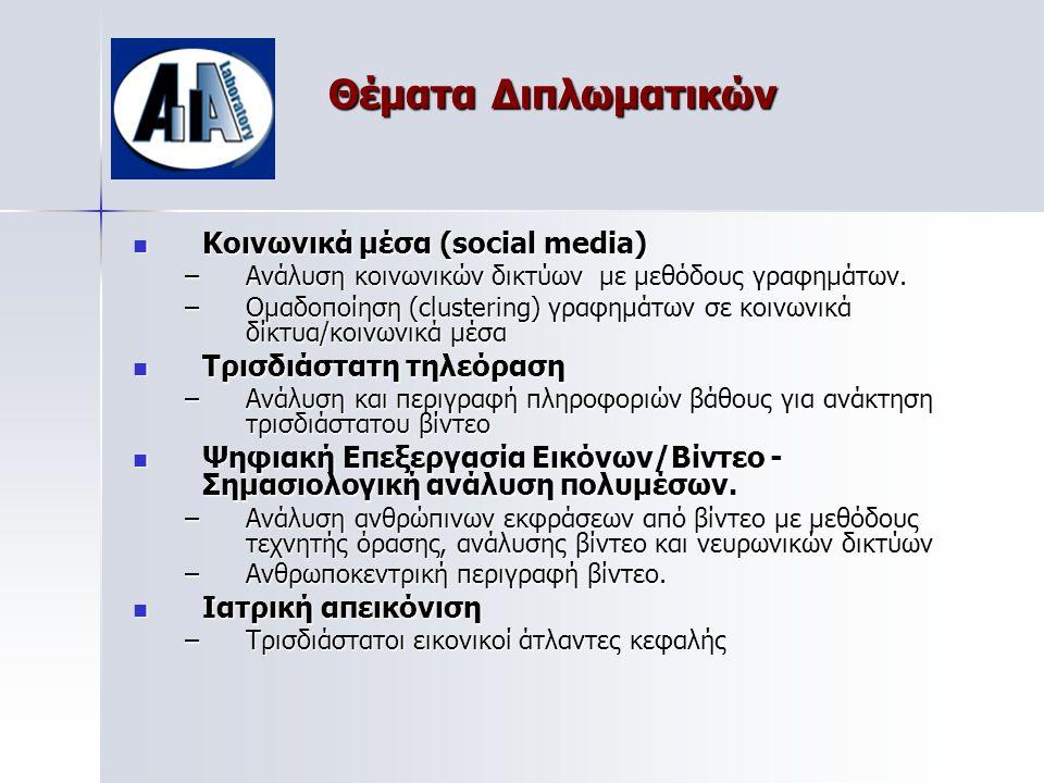 Θέματα Διπλωματικών  Κοινωνικά μέσα (social media) –Ανάλυση κοινωνικών δικτύων με μεθόδους γραφημάτων.