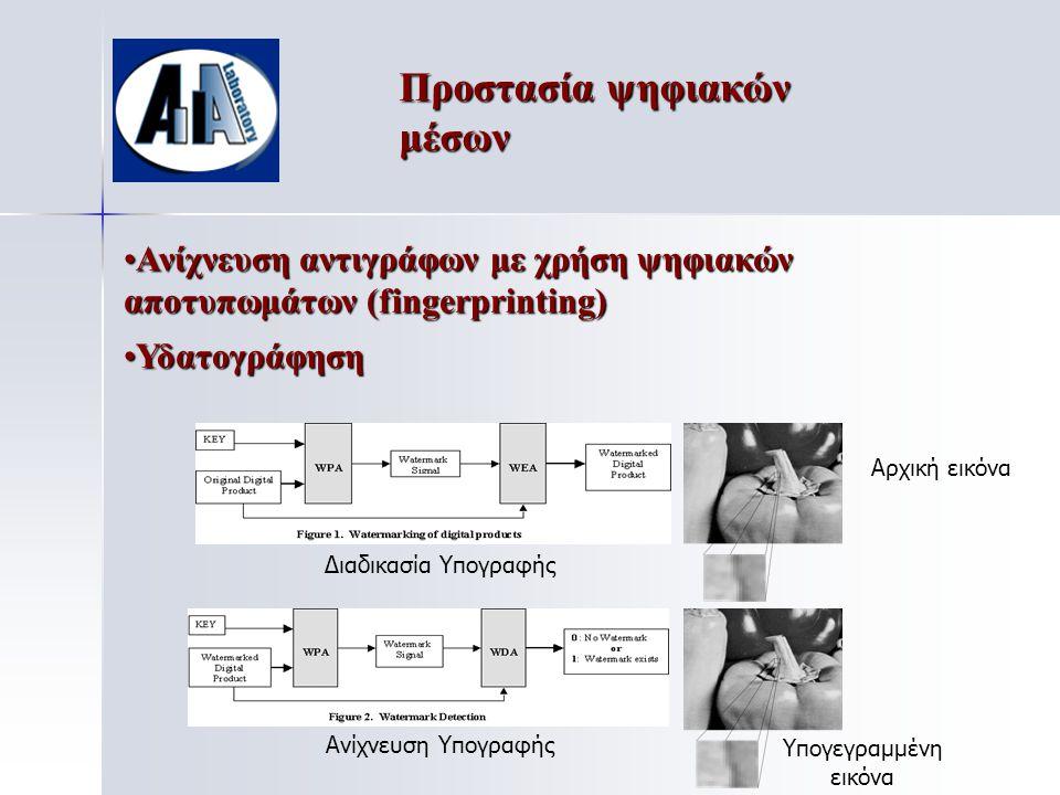 Προστασία ψηφιακών μέσων Αρχική εικόνα Υπογεγραμμένη εικόνα Ανίχνευση Υπογραφής Διαδικασία Υπογραφής •Ανίχνευση αντιγράφων με χρήση ψηφιακών αποτυπωμάτων (fingerprinting) •Υδατογράφηση