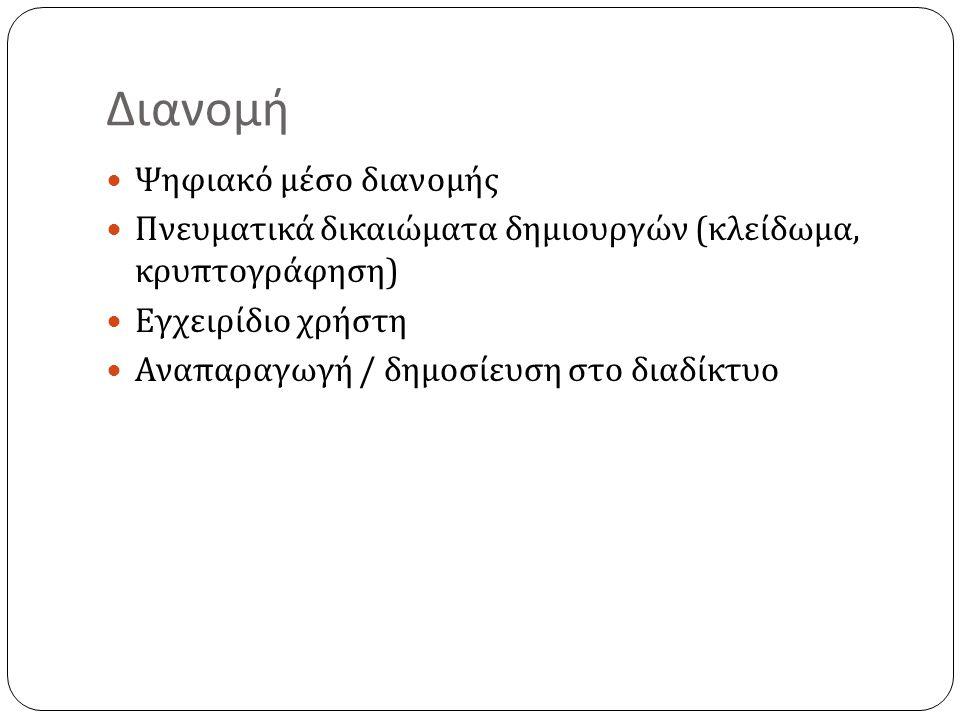 Διανομή  Ψηφιακό μέσο διανομής  Πνευματικά δικαιώματα δημιουργών ( κλείδωμα, κρυπτογράφηση )  Εγχειρίδιο χρήστη  Αναπαραγωγή / δημοσίευση στο διαδ