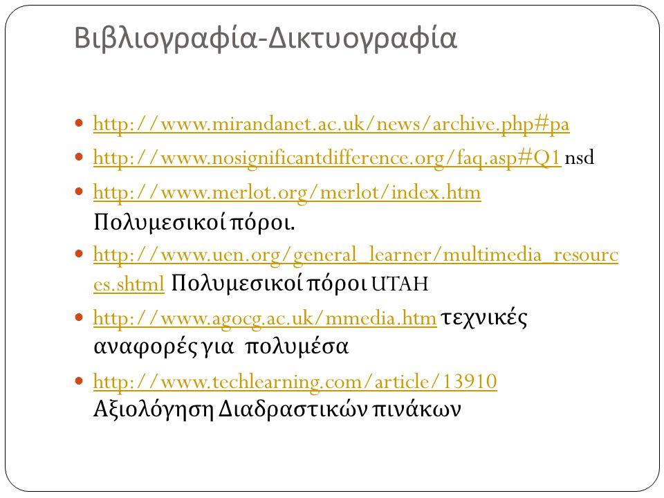 Βιβλιογραφία - Δικτυογραφία  http://www.mirandanet.ac.uk/news/archive.php#pa http://www.mirandanet.ac.uk/news/archive.php#pa  http://www.nosignifica