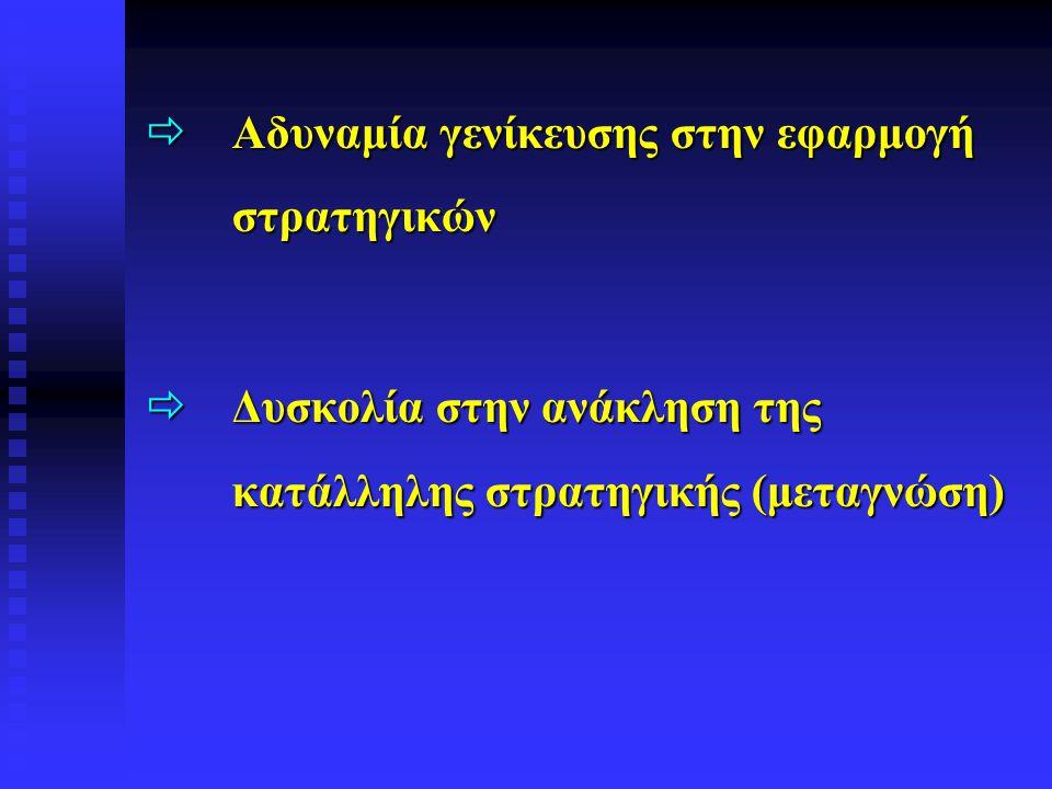  Αδυναμία γενίκευσης στην εφαρμογή στρατηγικών  Δυσκολία στην ανάκληση της κατάλληλης στρατηγικής (μεταγνώση)