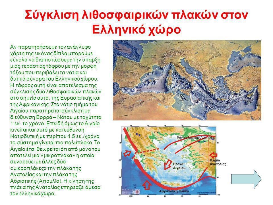 ΚΡΗΤΗ Ανώτερος Μανδύας της πλάκας του Αιγαίου Ανώτερος Μανδύας της υποβυθιζόμενης πλάκας Ωκεάνιος φλοιός της υποβυθιζόμενης Αφρικανικής πλάκας Ηπειρωτικό ς Φλοιός Αιγαίο Πέλαγος Η σύγκλιση των λιθοσφαιρικών πλακών στην περιοχή του Αιγαίου όπως έχει χαρτογραφηθεί από γεωφυσικές μελέτες.