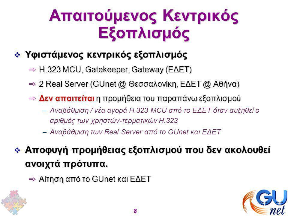 8 Απαιτούμενος Κεντρικός Εξοπλισμός  Υφιστάμενος κεντρικός εξοπλισμός þΗ.323 MCU, Gatekeeper, Gateway (EΔΕΤ) þ2 Real Server (GUnet @ Θεσσαλονίκη, ΕΔΕ