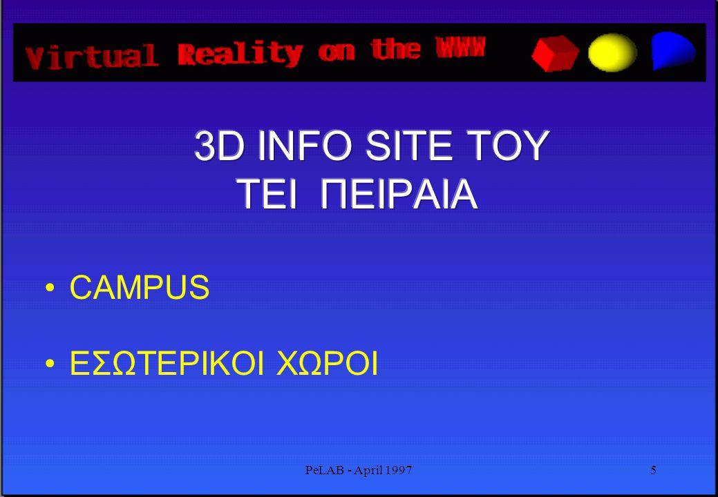 PeLAB - April 19974 •Open Inventor ( ascii file format ) •Επεκτάσεις για Δίκτυα Η/Υ