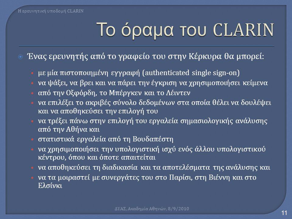  Ένας ερευνητής από το γραφείο του στην Κέρκυρα θα μπορεί: • με μία πιστοποιημένη εγγραφή (authenticated single sign-on) • να ψάξει, να βρει και να π