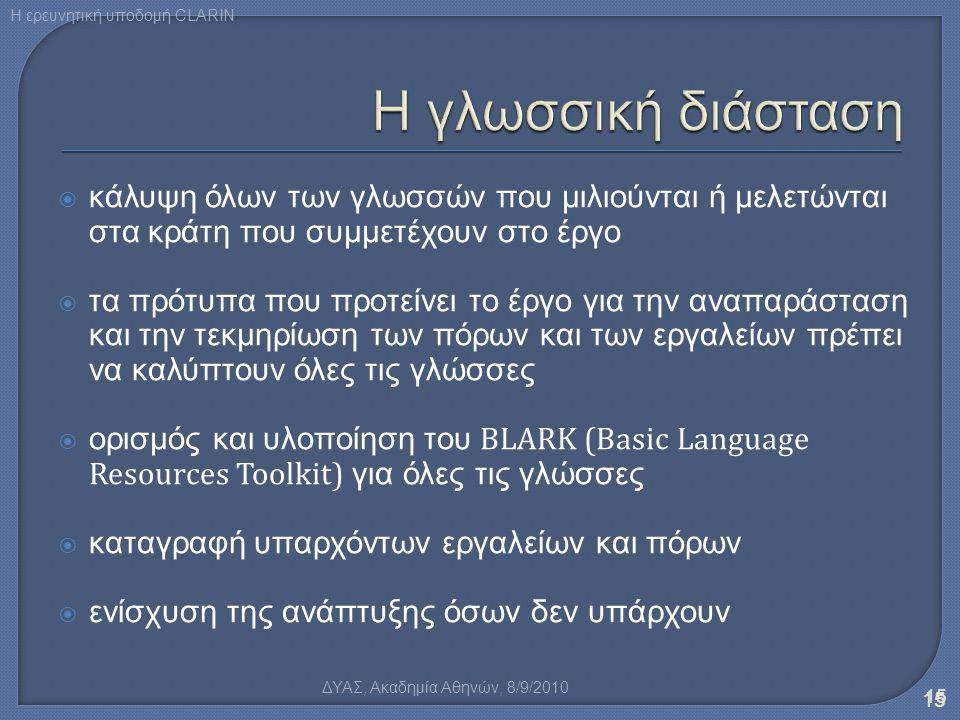 κάλυψη όλων των γλωσσών που μιλιούνται ή μελετώνται στα κράτη που συμμετέχουν στο έργο  τα πρότυπα που προτείνει το έργο για την αναπαράσταση και τ