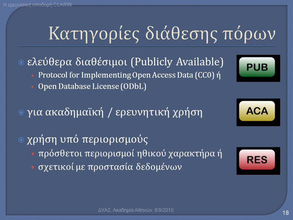  ελεύθερα διαθέσιμοι (Publicly Available) • Protocol for Implementing Open Access Data (CC0) ή • Open Database License (ODbL)  για ακαδημαϊκή / ερευ