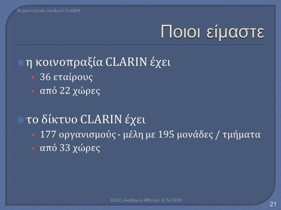  η κοινοπραξία CLARIN έχει • 36 εταίρους • από 22 χώρες  το δίκτυο CLARIN έχει • 177 οργανισμούς - μέλη με 195 μονάδες / τμήματα • από 33 χώρες Η ερ