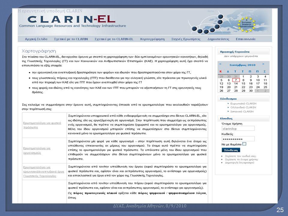 Η ερευνητική υποδομή CLARIN 25 ΔΥΑΣ, Ακαδημία Αθηνών, 8/9/2010