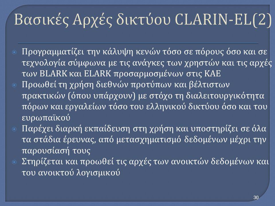 Βασικές Αρχές δικτύου CLARIN-EL(2)  Προγραμματίζει την κάλυψη κενών τόσο σε πόρους όσο και σε τεχνολογία σύμφωνα με τις ανάγκες των χρηστών και τις α
