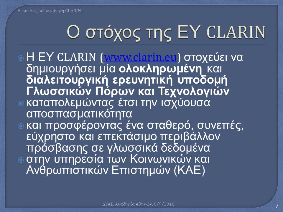  Η ΕΥ CLARIN (www.clarin.eu) στοχεύει να δημιουργήσει μία ολοκληρωμένη και διαλειτουργική ερευνητική υποδομή Γλωσσικών Πόρων και Τεχνολογιώνwww.clari