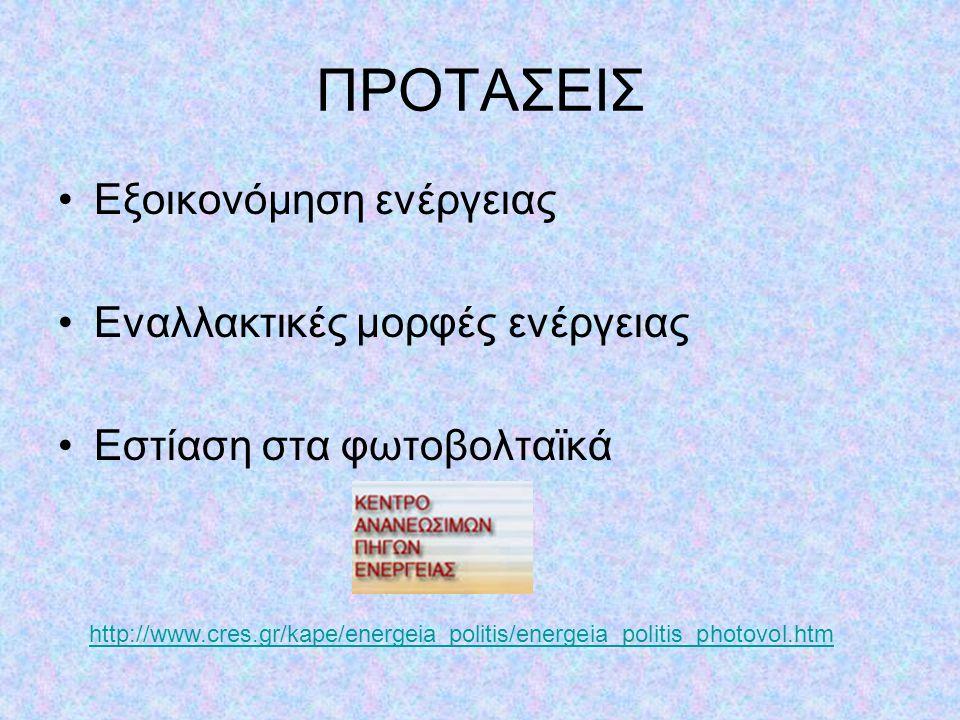 ΠΡΟΤΑΣΕΙΣ •Εξοικονόμηση ενέργειας •Εναλλακτικές μορφές ενέργειας •Εστίαση στα φωτοβολταϊκά http://www.cres.gr/kape/energeia_politis/energeia_politis_p