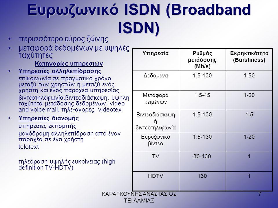 ΚΑΡΑΓΚΟΥΝΗΣ ΑΝΑΣΤΑΣΙΟΣ ΤΕΙ ΛΑΜΙΑΣ 7 Ευρωζωνικό ISDN (Broadband ISDN) •περισσότερο εύρος ζώνης •μεταφορά δεδομένων με υψηλές ταχύτητες Κατηγορίες υπηρεσιών •Υπηρεσίες αλληλεπίδρασης επικοινωνία σε πραγματικό χρόνο μεταξύ των χρηστών ή μεταξύ ενός χρήστη και ενός παροχέα υπηρεσίας βιντεοτηλεφωνία,βιντεοδιάσκεψη, υψηλή ταχύτητα μετάδοσης δεδομένων, video and voice mail, τηλε-αγορές, videotex •Υπηρεσίες διανομής υπηρεσίες εκπομπής μονόδρομη αλληλεπίδραση από έναν παροχέα σε ένα χρήστη teletext τηλεόραση υψηλής ευκρίνειας (high definition TV-HDTV) ΥπηρεσίαΡυθμός μετάδοσης (Mb/s) Εκρηκτικότητα (Burstiness) Δεδομένα1.5-1301-50 Μεταφορά κειμένων 1.5-451-20 Βιντεοδιάσκεψη ή βιντεοτηλεφωνία 1.5-1301-5 Ευρυζωνικό βίντεο 1.5-1301-20 TV30-1301 HDTV1301