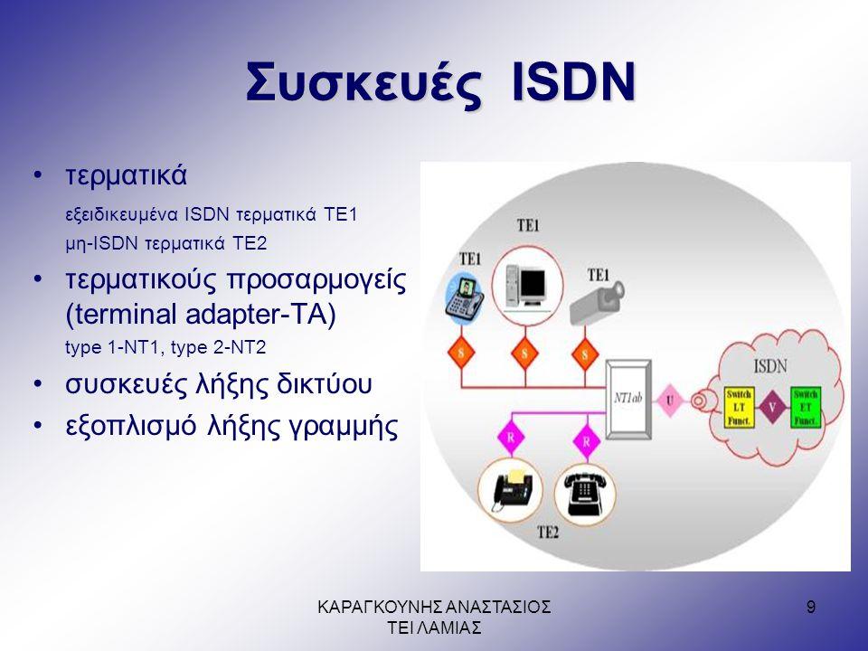 ΚΑΡΑΓΚΟΥΝΗΣ ΑΝΑΣΤΑΣΙΟΣ ΤΕΙ ΛΑΜΙΑΣ 9 Συσκευές ISDN •τερματικά εξειδικευμένα ISDN τερματικά TE1 μη-ISDN τερματικά TE2 •τερματικούς προσαρμογείς (terminal adapter-TA) type 1-NT1, type 2-NT2 •συσκευές λήξης δικτύου •εξοπλισμό λήξης γραμμής