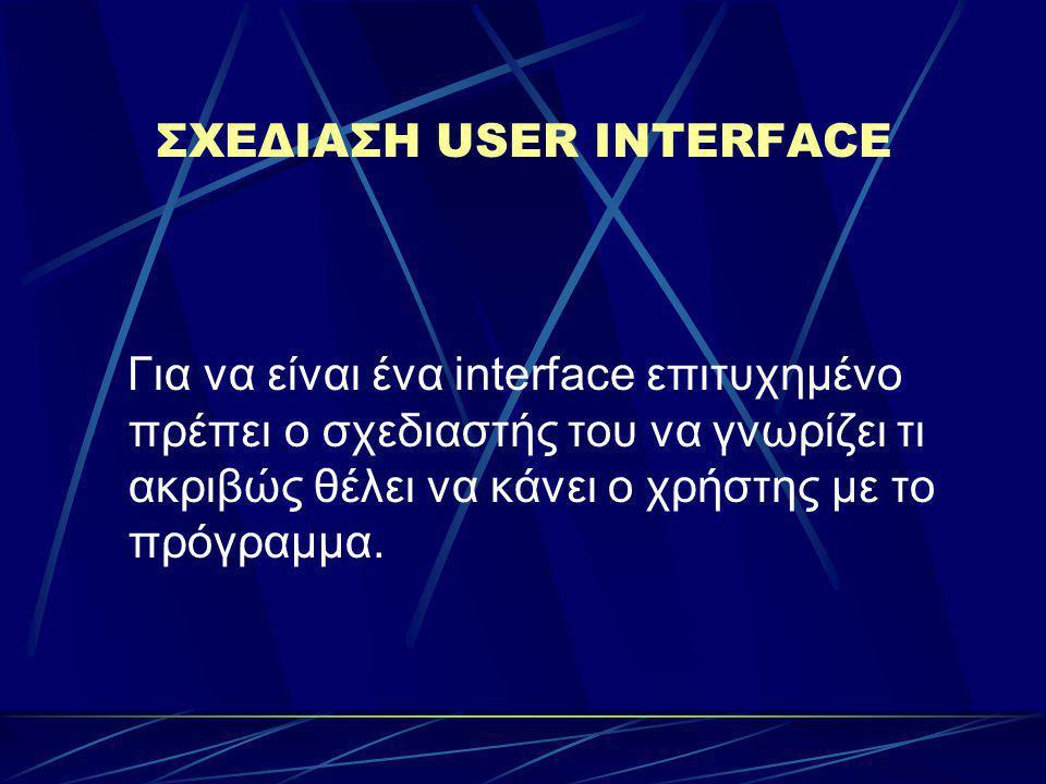 Αν δεν υπάρχει πολύ καλά σχεδιασμένη επικοινωνία χρήστη - υπολογιστή ίσως ένα μέρος της εφαρμογής να μην γίνει ποτέ αντιληπτό από τον χρήστη.