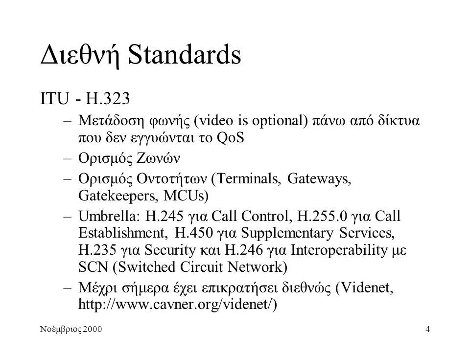 Νοέμβριος 20004 Διεθνή Standards ITU - H.323 –Μετάδοση φωνής (video is optional) πάνω από δίκτυα που δεν εγγυώνται το QoS –Ορισμός Ζωνών –Ορισμός Οντο