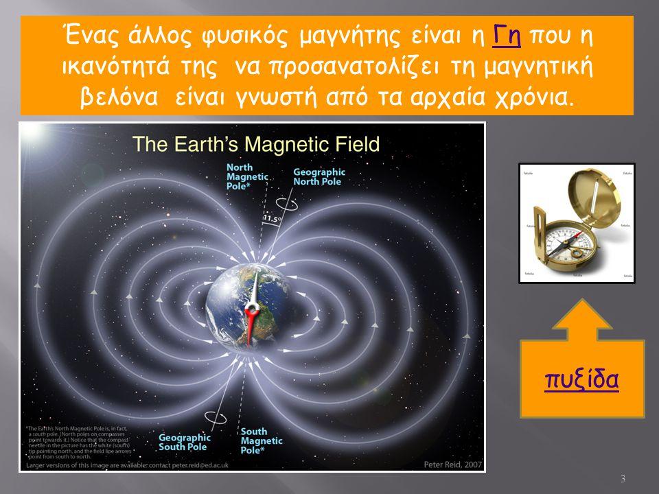 3 Ένας άλλος φυσικός μαγνήτης είναι η Γη που η ικανότητά της να προσανατολίζει τη μαγνητική βελόνα είναι γνωστή από τα αρχαία χρόνια.Γη πυξίδα