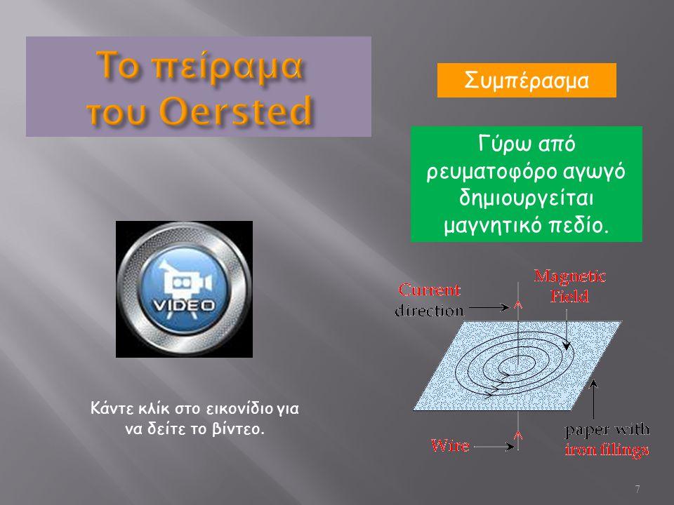 8 Το πείραμα του Oersted μας έδειξε ότι το ρεύμα ασκεί δύναμη πάνω στους μαγνήτες.