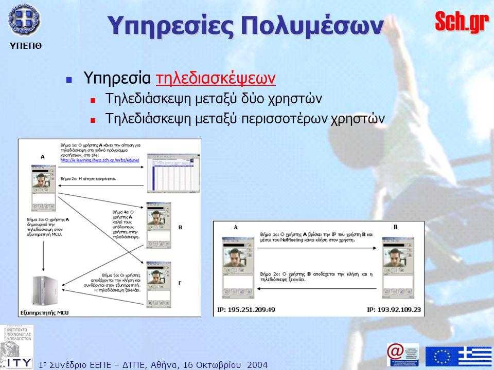 1 ο Συνέδριο ΕΕΠΕ – ΔΤΠΕ, Αθήνα, 16 Οκτωβρίου 2004 ΥΠΕΠΘ Sch.gr Υπηρεσίες Πολυμέσων  Υπηρεσία τηλεδιασκέψεωντηλεδιασκέψεων  Τηλεδιάσκεψη μεταξύ δύο χρηστών  Τηλεδιάσκεψη μεταξύ περισσοτέρων χρηστών