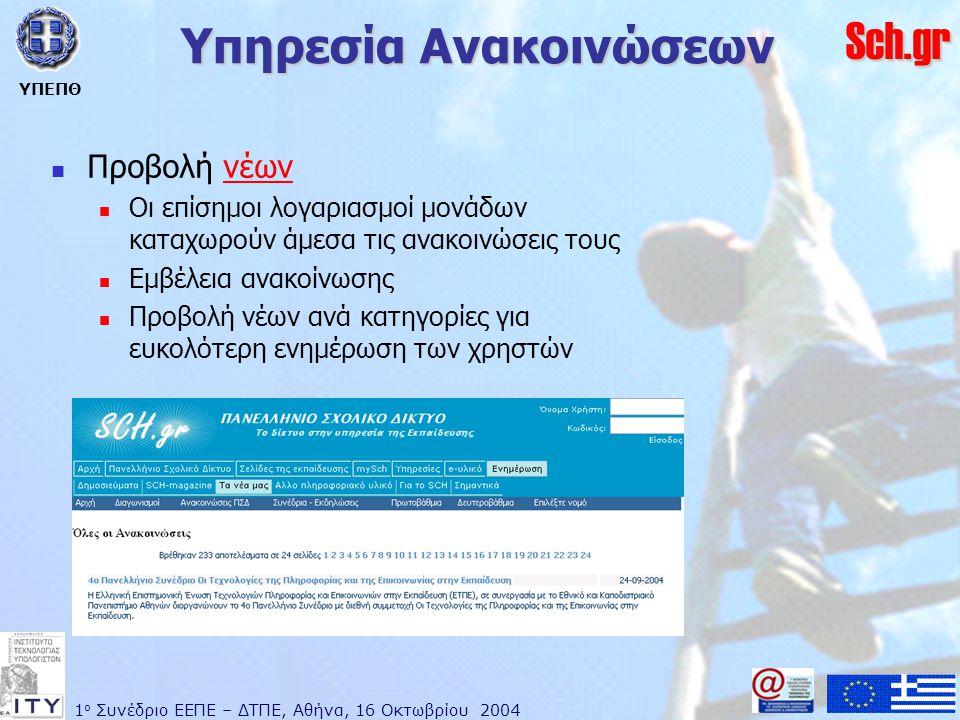 1 ο Συνέδριο ΕΕΠΕ – ΔΤΠΕ, Αθήνα, 16 Οκτωβρίου 2004 ΥΠΕΠΘ Sch.gr Υπηρεσία Ανακοινώσεων  Προβολή νέωννέων  Οι επίσημοι λογαριασμοί μονάδων καταχωρούν άμεσα τις ανακοινώσεις τους  Εμβέλεια ανακοίνωσης  Προβολή νέων ανά κατηγορίες για ευκολότερη ενημέρωση των χρηστών