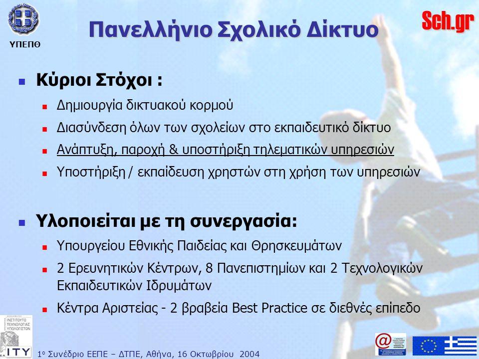 1 ο Συνέδριο ΕΕΠΕ – ΔΤΠΕ, Αθήνα, 16 Οκτωβρίου 2004 ΥΠΕΠΘ Sch.gr Πανελλήνιο Σχολικό Δίκτυο  Κύριοι Στόχοι :  Δημιουργία δικτυακού κορμού  Διασύνδεση όλων των σχολείων στο εκπαιδευτικό δίκτυο  Ανάπτυξη, παροχή & υποστήριξη τηλεματικών υπηρεσιών  Υποστήριξη / εκπαίδευση χρηστών στη χρήση των υπηρεσιών  Υλοποιείται με τη συνεργασία:  Υπουργείου Εθνικής Παιδείας και Θρησκευμάτων  2 Ερευνητικών Κέντρων, 8 Πανεπιστημίων και 2 Τεχνολογικών Εκπαιδευτικών Ιδρυμάτων  Κέντρα Αριστείας - 2 βραβεία Best Practice σε διεθνές επίπεδο