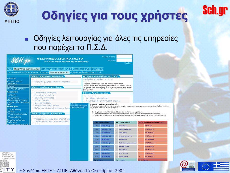 1 ο Συνέδριο ΕΕΠΕ – ΔΤΠΕ, Αθήνα, 16 Οκτωβρίου 2004 ΥΠΕΠΘ Sch.gr Οδηγίες για τους χρήστες  Οδηγίες λειτουργίας για όλες τις υπηρεσίες που παρέχει το Π.Σ.Δ.