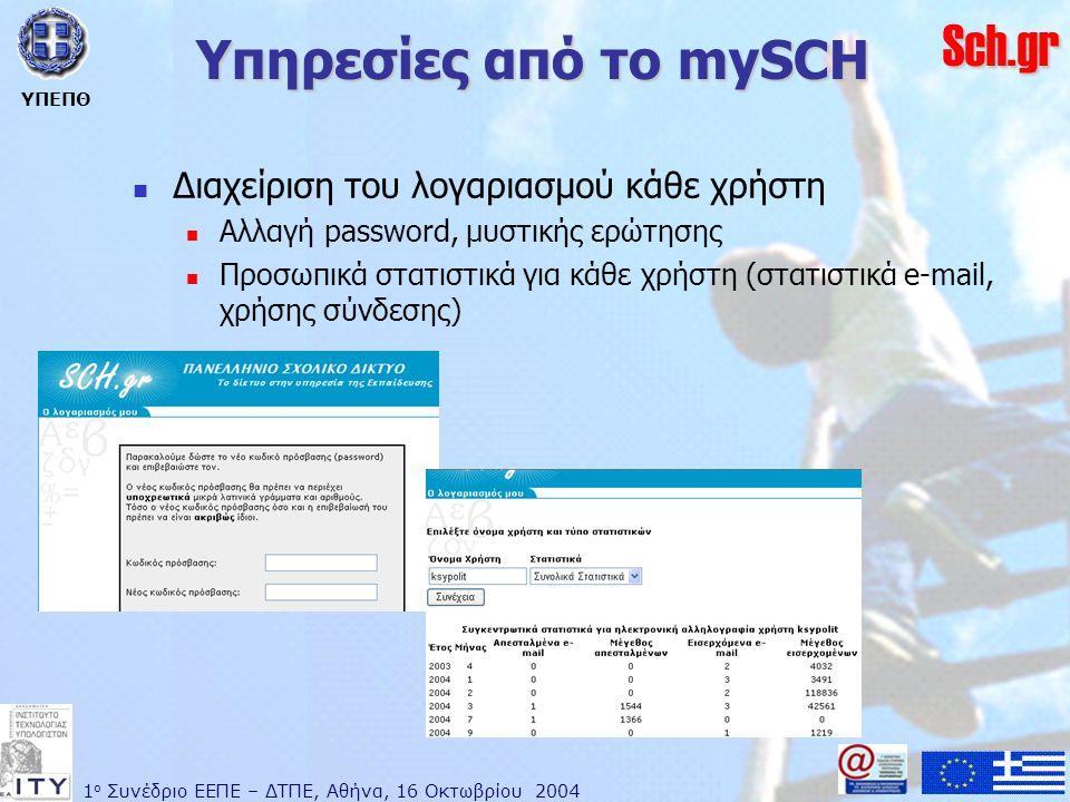 1 ο Συνέδριο ΕΕΠΕ – ΔΤΠΕ, Αθήνα, 16 Οκτωβρίου 2004 ΥΠΕΠΘ Sch.gr Υπηρεσίες από το mySCH  Διαχείριση του λογαριασμού κάθε χρήστη  Αλλαγή password, μυστικής ερώτησης  Προσωπικά στατιστικά για κάθε χρήστη (στατιστικά e-mail, χρήσης σύνδεσης)