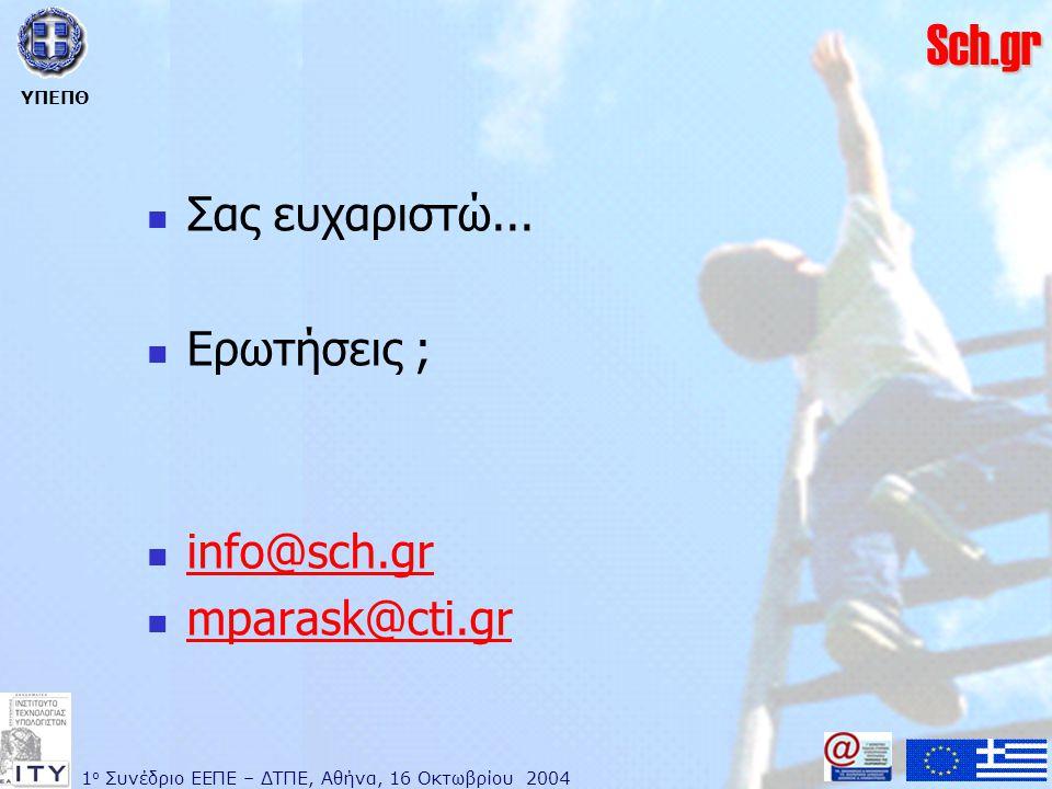 1 ο Συνέδριο ΕΕΠΕ – ΔΤΠΕ, Αθήνα, 16 Οκτωβρίου 2004 ΥΠΕΠΘ Sch.gr  Σας ευχαριστώ...