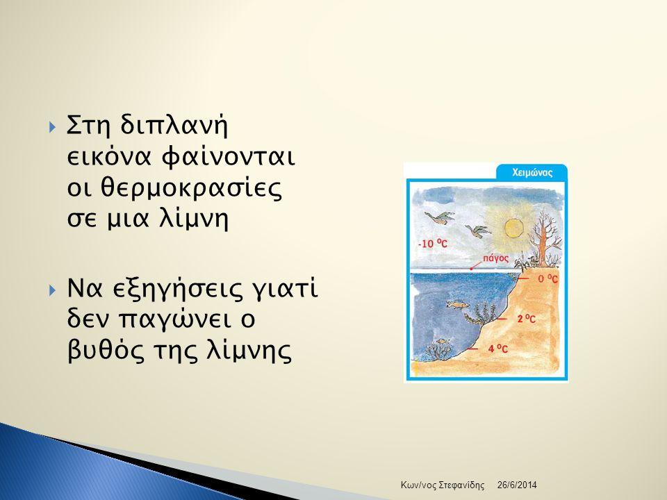  Στη διπλανή εικόνα φαίνονται οι θερμοκρασίες σε μια λίμνη  Να εξηγήσεις γιατί δεν παγώνει ο βυθός της λίμνης 26/6/2014Κων/νος Στεφανίδης