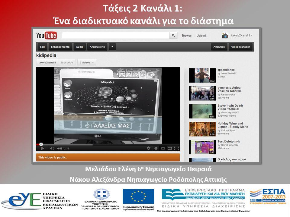 Τάξεις 2 Κανάλι 1: Ένα διαδικτυακό κανάλι για το διάστημα Μελιάδου Ελένη 6 ο Νηπιαγωγείο Πειραιά Νάκου Αλεξάνδρα Νηπιαγωγείο Ροδόπολης Αττικής