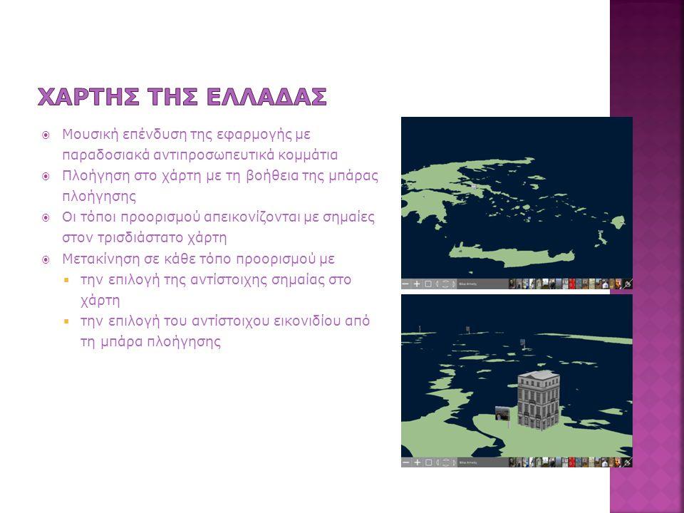  Μουσική επένδυση της εφαρμογής με παραδοσιακά αντιπροσωπευτικά κομμάτια  Πλοήγηση στο χάρτη με τη βοήθεια της μπάρας πλοήγησης  Οι τόποι προορισμού απεικονίζονται με σημαίες στον τρισδιάστατο χάρτη  Μετακίνηση σε κάθε τόπο προορισμού με  την επιλογή της αντίστοιχης σημαίας στο χάρτη  την επιλογή του αντίστοιχου εικονιδίου από τη μπάρα πλοήγησης