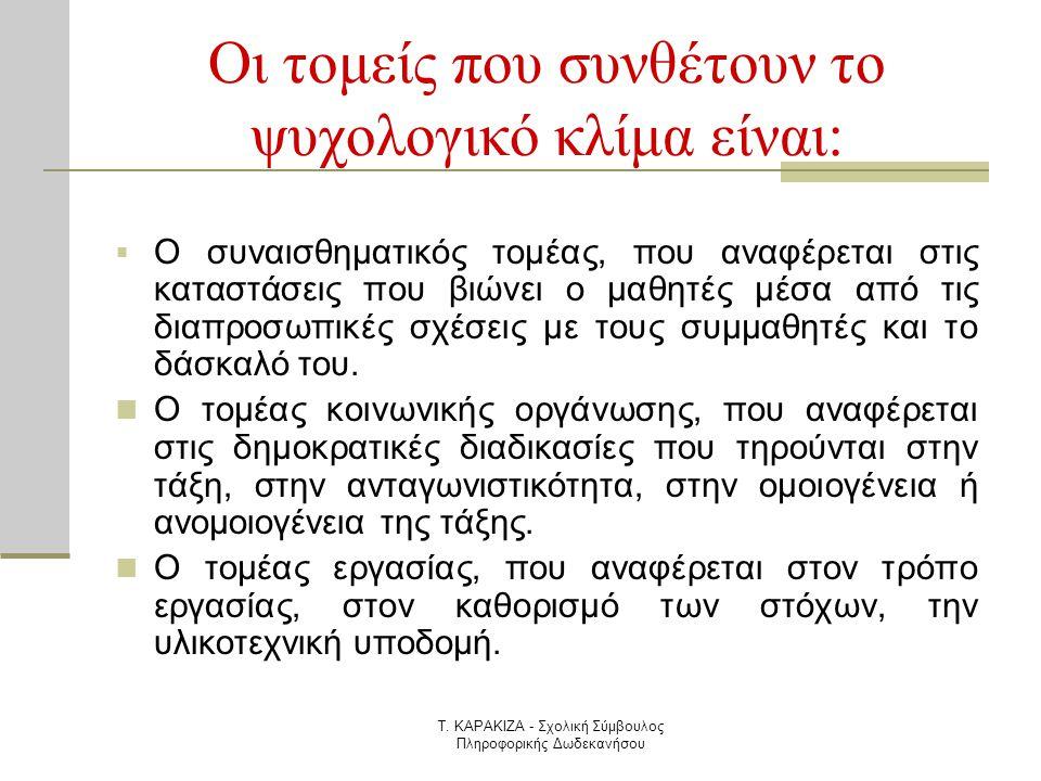 Τ. ΚΑΡΑΚΙΖΑ - Σχολική Σύμβουλος Πληροφορικής Δωδεκανήσου Οι τομείς που συνθέτουν το ψυχολογικό κλίμα είναι:  Ο συναισθηματικός τομέας, που αναφέρεται