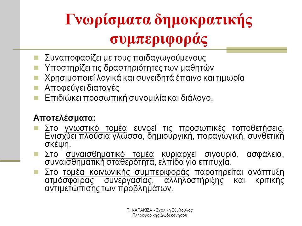Τ. ΚΑΡΑΚΙΖΑ - Σχολική Σύμβουλος Πληροφορικής Δωδεκανήσου Γνωρίσματα δημοκρατικής συμπεριφοράς  Συναποφασίζει με τους παιδαγωγούμενους  Υποστηρίζει τ
