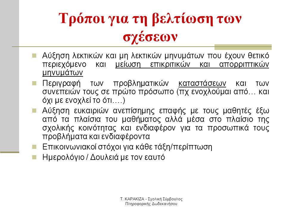 Τ. ΚΑΡΑΚΙΖΑ - Σχολική Σύμβουλος Πληροφορικής Δωδεκανήσου Τρόποι για τη βελτίωση των σχέσεων  Αύξηση λεκτικών και μη λεκτικών μηνυμάτων που έχουν θετι