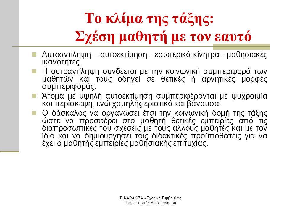 Τ. ΚΑΡΑΚΙΖΑ - Σχολική Σύμβουλος Πληροφορικής Δωδεκανήσου Το κλίμα της τάξης: Σχέση μαθητή με τον εαυτό  Αυτοαντίληψη – αυτοεκτίμηση - εσωτερικά κίνητ