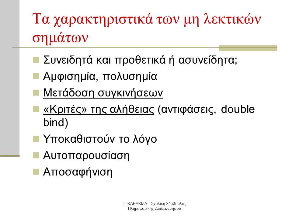 Τ. ΚΑΡΑΚΙΖΑ - Σχολική Σύμβουλος Πληροφορικής Δωδεκανήσου Τα χαρακτηριστικά των μη λεκτικών σημάτων  Συνειδητά και προθετικά ή ασυνείδητα;  Αμφισημία