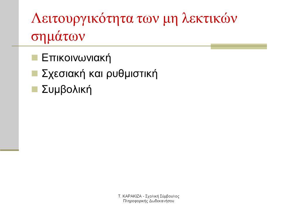 Τ. ΚΑΡΑΚΙΖΑ - Σχολική Σύμβουλος Πληροφορικής Δωδεκανήσου Λειτουργικότητα των μη λεκτικών σημάτων  Επικοινωνιακή  Σχεσιακή και ρυθμιστική  Συμβολική