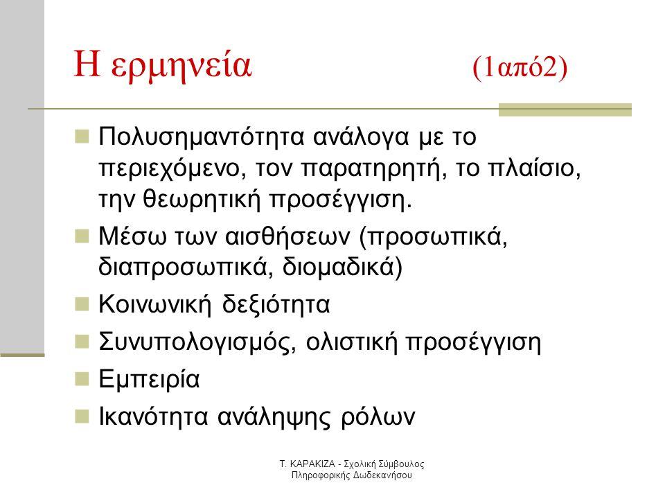 Τ. ΚΑΡΑΚΙΖΑ - Σχολική Σύμβουλος Πληροφορικής Δωδεκανήσου Η ερμηνεία (1από2)  Πολυσημαντότητα ανάλογα με το περιεχόμενο, τον παρατηρητή, το πλαίσιο, τ