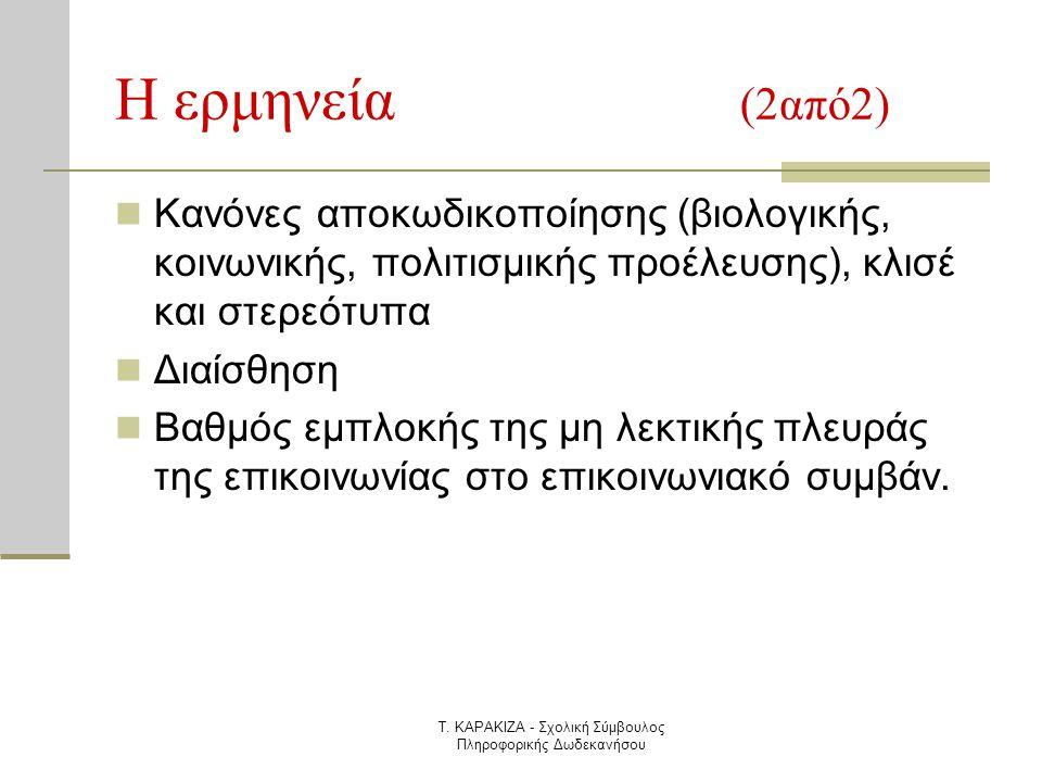 Τ. ΚΑΡΑΚΙΖΑ - Σχολική Σύμβουλος Πληροφορικής Δωδεκανήσου Η ερμηνεία (2από2)  Κανόνες αποκωδικοποίησης (βιολογικής, κοινωνικής, πολιτισμικής προέλευση