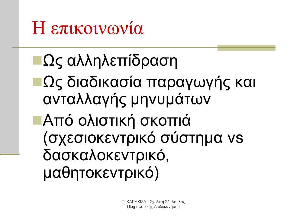 Τ. ΚΑΡΑΚΙΖΑ - Σχολική Σύμβουλος Πληροφορικής Δωδεκανήσου Η επικοινωνία  Ως αλληλεπίδραση  Ως διαδικασία παραγωγής και ανταλλαγής μηνυμάτων  Από ολι