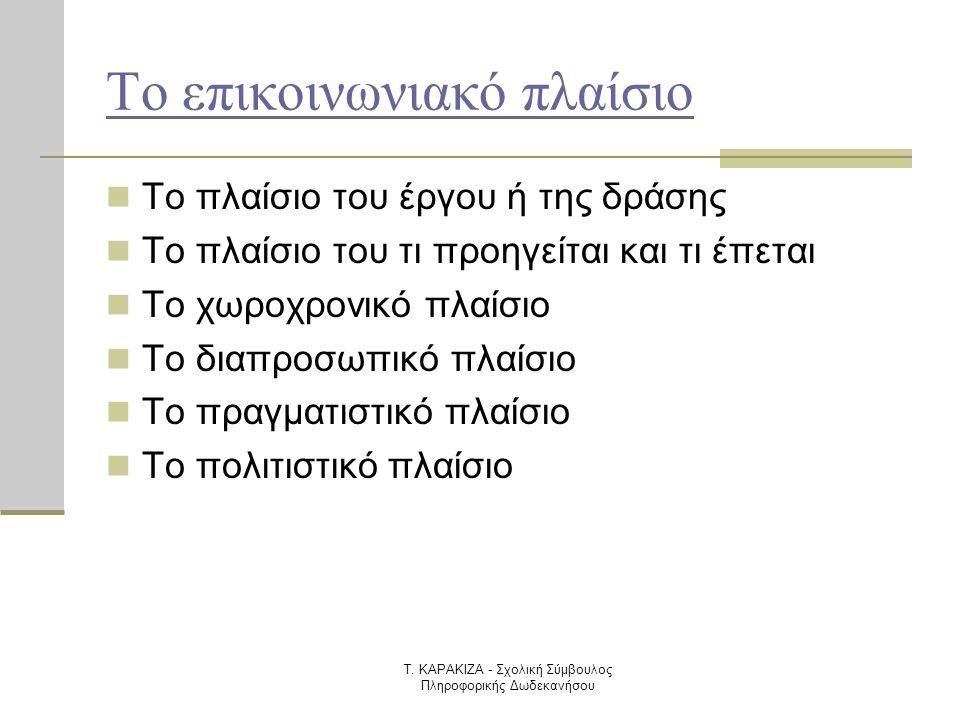 Τ. ΚΑΡΑΚΙΖΑ - Σχολική Σύμβουλος Πληροφορικής Δωδεκανήσου Το επικοινωνιακό πλαίσιο  Το πλαίσιο του έργου ή της δράσης  Το πλαίσιο του τι προηγείται κ