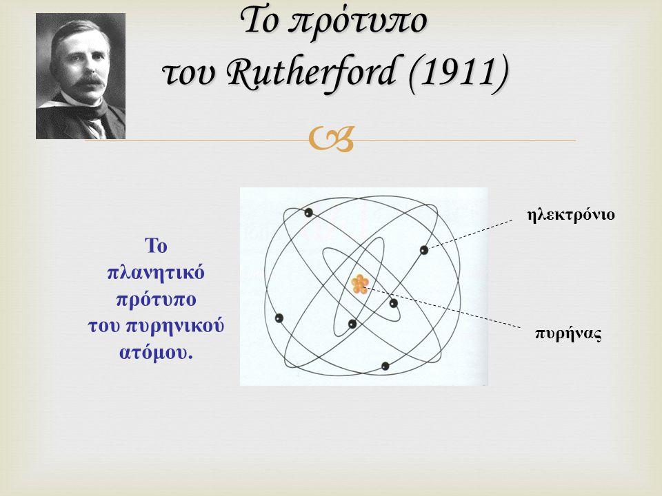  Το πρότυπο του Rutherford (1911) ηλεκτρόνιο πυρήνας Το πλανητικό πρότυπο του πυρηνικού ατόμου.