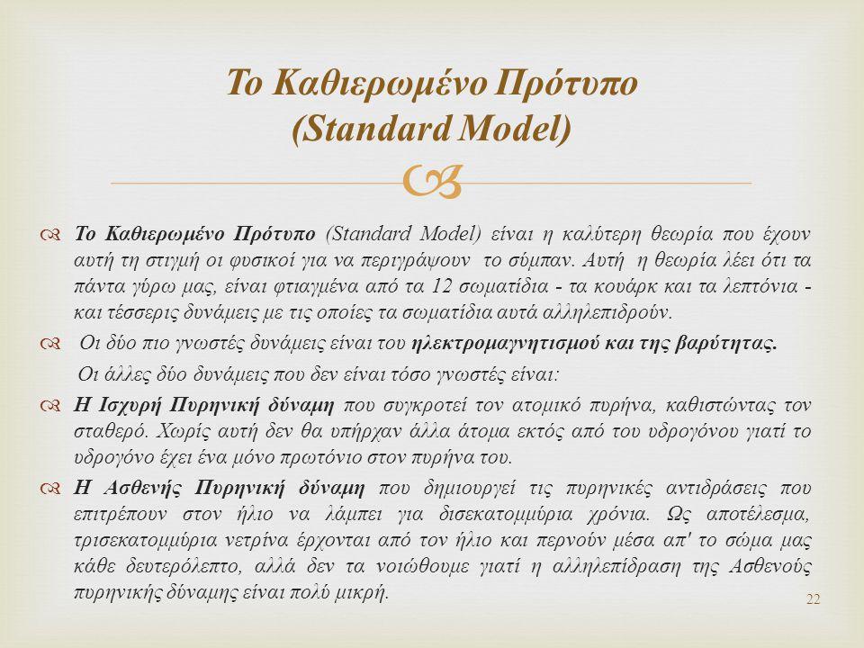   Το Καθιερωμένο Πρότυπο (Standard Model) είναι η καλύτερη θεωρία που έχουν αυτή τη στιγμή οι φυσικοί για να περιγράψουν το σύμπαν. Αυτή η θεωρία λέ