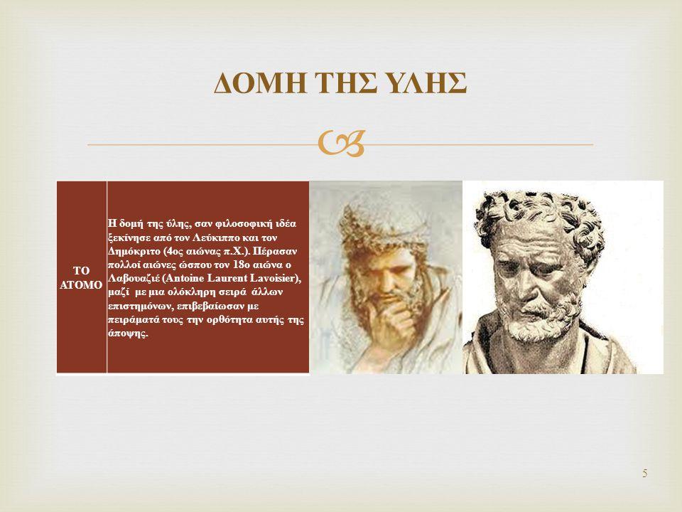  ΤΟ ΑΤΟΜΟ Η δομή της ύλης, σαν φιλοσοφική ιδέα ξεκίνησε από τον Λεύκιππο και τον Δημόκριτο (4ος αιώνας π.Χ.). Πέρασαν πολλοί αιώνες ώσπου τον 18ο αιώ