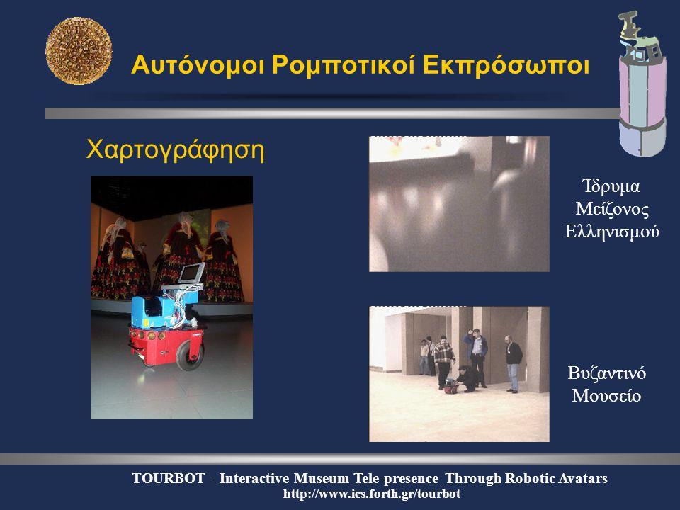 TOURBOT - Interactive Museum Tele-presence Through Robotic Avatars http://www.ics.forth.gr/tourbot Αυτόνομοι Ρομποτικοί Εκπρόσωποι Χαρτογράφηση Βυζαντινό Μουσείο Ίδρυμα Μείζονος Ελληνισμού