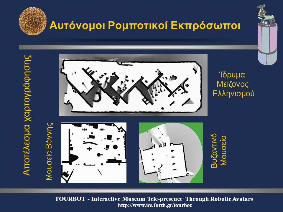 TOURBOT - Interactive Museum Tele-presence Through Robotic Avatars http://www.ics.forth.gr/tourbot Αυτόνομοι Ρομποτικοί Εκπρόσωποι Αποτέλεσμα χαρτογράφησης Ίδρυμα Μείζονος Ελληνισμού Βυζαντινό Μουσείο Μουσείο Βόννης