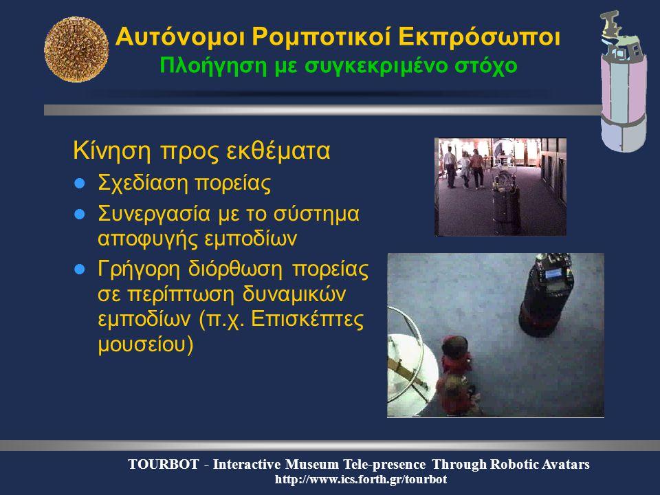 TOURBOT - Interactive Museum Tele-presence Through Robotic Avatars http://www.ics.forth.gr/tourbot Αυτόνομοι Ρομποτικοί Εκπρόσωποι Πλοήγηση με συγκεκριμένο στόχο Κίνηση προς εκθέματα  Σχεδίαση πορείας  Συνεργασία με το σύστημα αποφυγής εμποδίων  Γρήγορη διόρθωση πορείας σε περίπτωση δυναμικών εμποδίων (π.χ.